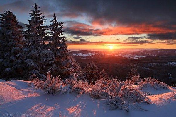 Paysages sous la neige page 8 - Photo coucher de soleil montagne ...