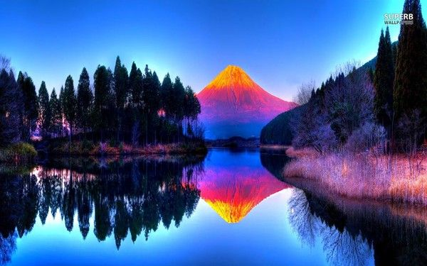 Volcano Wallpapers Hd: Paysages Reflets Dans Eau